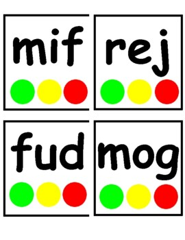 NWF (Nonsense Word Fluency) Flash Cards with Touch Dots