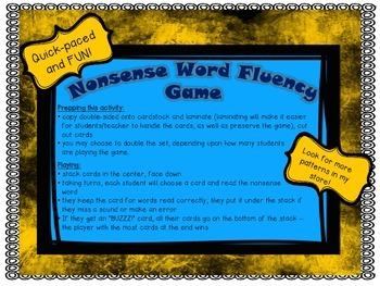 NWF Nonsense Word Fluency_Short Vowel Patterns - Bee Theme