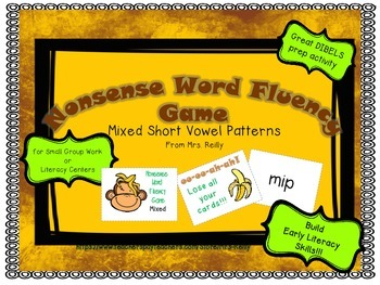 NWF Nonsense Word Fluency_Short Vowel Patterns - Monkey Theme