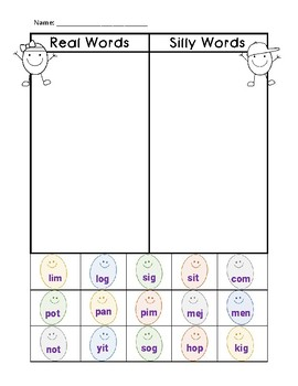 NWF nonsense word fluency intervention cut & sort- Easter eggs