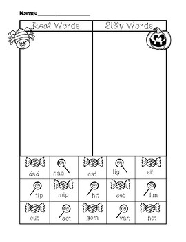 NWF nonsense word fluency intervention cut & sort- Halloween candy