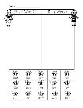 NWF nonsense word fluency intervention cut & sort- bees