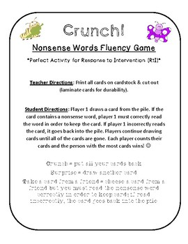 {FREE} NWF nonsense word fluency intervention game- Crunch!