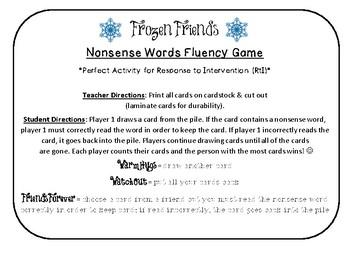 NWF nonsense word fluency intervention game- Frozen Friends!