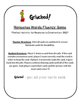 NWF nonsense word fluency intervention game- Christmas Grinched!