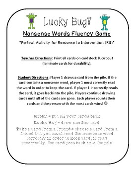 NWF nonsense word fluency intervention game- Lucky Bug!