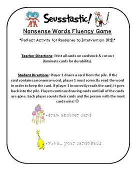 NWF nonsense word fluency intervention game- Dr. Seuss Seusstastic!