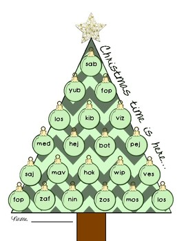 NWF nonsense word fluency roll & stamp intervention activity- Christmas tree