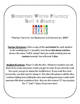 NWF nonsense word fluency roll & stamp intervention activity- Dr. Seuss