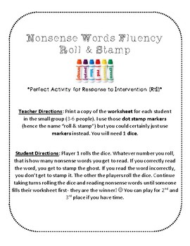 NWF nonsense word fluency roll & stamp intervention activity- Halloween ghosts