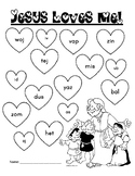 NWF nonsense word fluency roll & stamp intervention activity- Jesus Loves Me