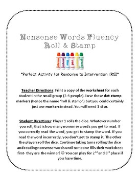 NWF nonsense word fluency roll & stamp intervention activity- St. Patrick's Day
