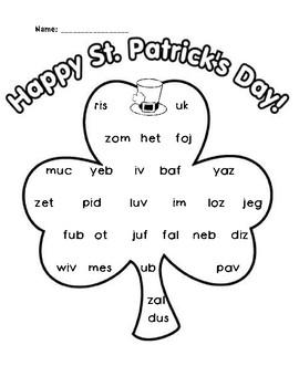 NWF nonsense word fluency roll & stamp intervention activity- St. Patrick's Day