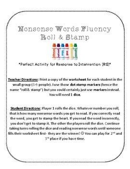 NWF nonsense word fluency roll & stamp intervention activity- Valentine's Day