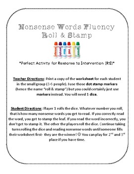 {FREE} NWF nonsense word fluency roll & stamp intervention activity- leaves