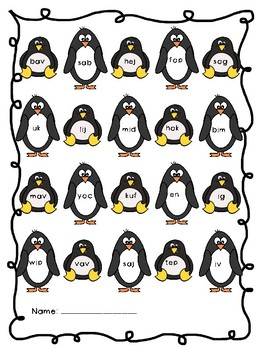 NWF nonsense word fluency roll & stamp intervention activity- penguins