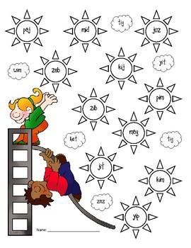 {FREE} NWF nonsense word fluency roll & stamp intervention activity- playground