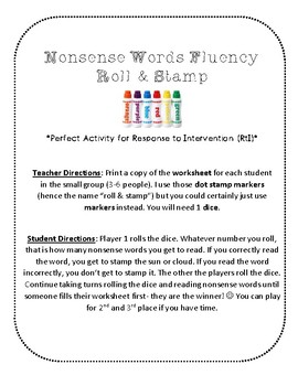 {FREE} NWF nonsense word fluency roll & stamp intervention activity- playground