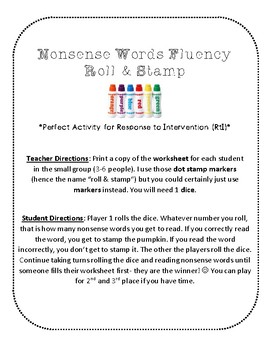 NWF nonsense word fluency roll & stamp intervention activity- pumpkins