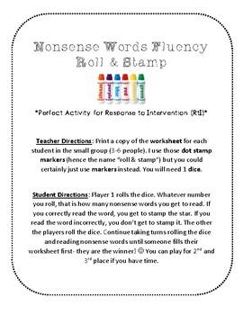 NWF nonsense word fluency roll & stamp intervention activity- religiousChristmas