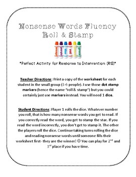 NWF nonsense word fluency roll & stamp intervention- religious Christmas