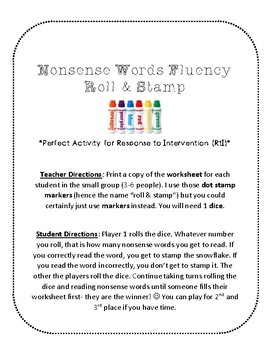 NWF nonsense word fluency roll & stamp intervention activity- snowflakes