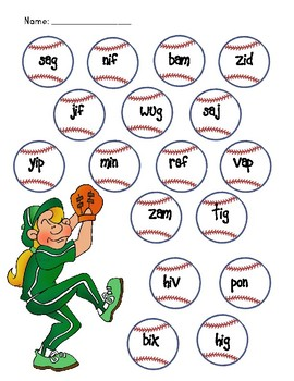 NWF nonsense word fluency roll & stamp intervention activity- softball