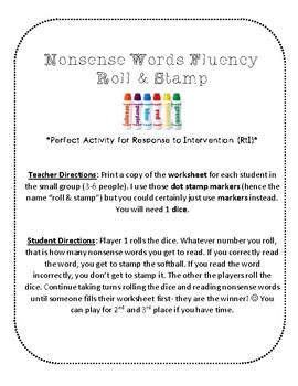 {FREE} NWF nonsense word fluency roll & stamp intervention activity- softball