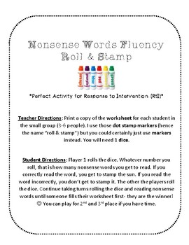 {FREE} NWF nonsense word fluency roll & stamp intervention activity- sunshine