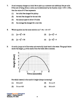 NY Common Core Algebra Practice Regents with KEY