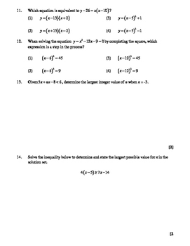 Common Core Algebra Solving Equations and Inequalities Regents Review Worksheet