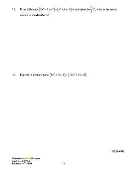 NY Common Core Review A-APR.A Perform Algebraic Operations on Polynomials w KEY