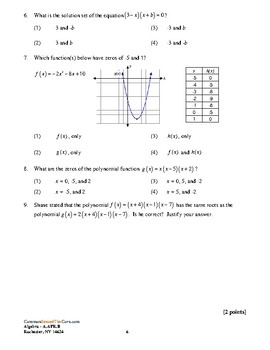 NY Common Core Review A-APR.B - Relationship Between Zeros and Factors w KEY