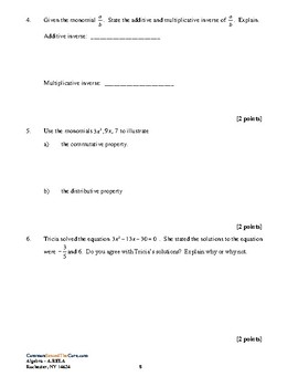 NY Common Core Review A-REI.A Solving Equations w KEY