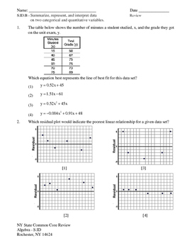 NY Regents Exam Common Core Algebra - Statistics Review Packet