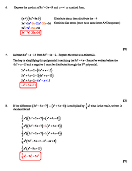NY Common Core Algebra - Review Subtraction and Multiplication of Polynomials