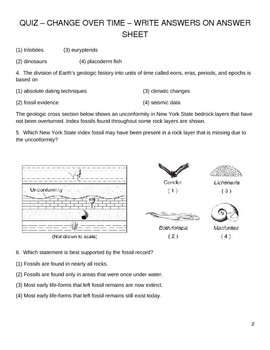 NY State High School Earth Science Quiz - Change Over Time