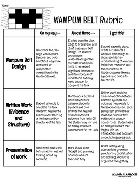 NY State Expeditionary Learning Wampum Belt Design & Essay Activities