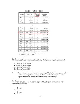 NY State Regents Chemistry Style Practice Questions and Answers