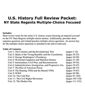 US History Full Year Regents Review
