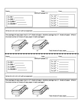 NYC Envision 2.0 Math Exit Slips for TOPIC 1