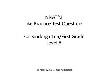 NYC Gifted & Talented Program Kindergarten Practice Test (20 Questions)