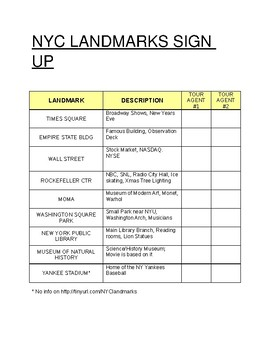 NYC Landmarks Research Project + Rubric