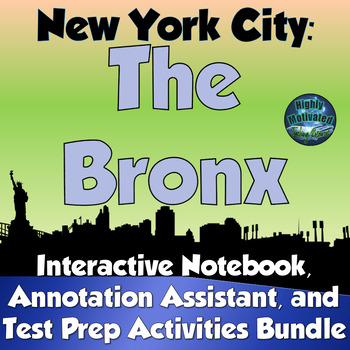 NYC The Bronx Interactive Notebook Activities Bundle with Test Prep