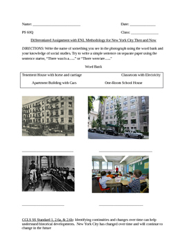 NYC Then and Now ENL Writing Assignment and Rubric, New Language Progression