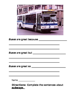 NYC Transportation Writing Activities (Conjunctions)