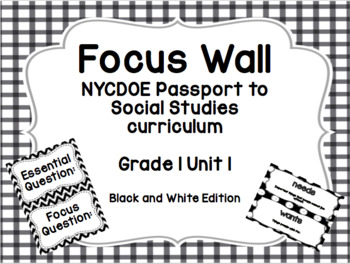 NYCDOE Passport to Social Studies Core Curriculum Focus Wall (B&W Edition)