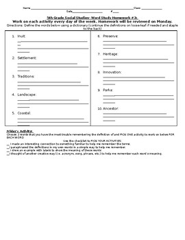 NYCDOE Passport to Social Studies Grade 5: Unit 1 Vocabulary Words List #3