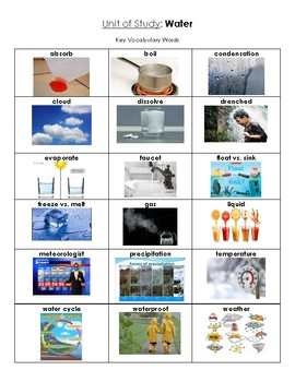 NYCDOE Pre-K Unit: Water Key Vocabulary Words