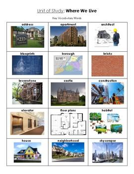 NYCDOE Pre-K Unit: Where We Live Key Vocabulary Words
